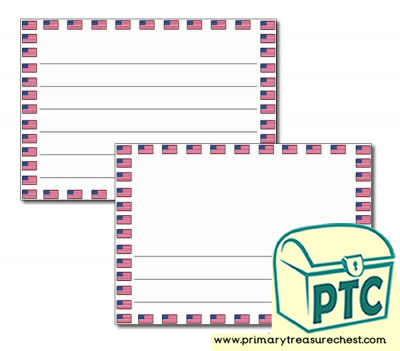 American Flag Landscape Page Border/Writing Frame (wide lines)