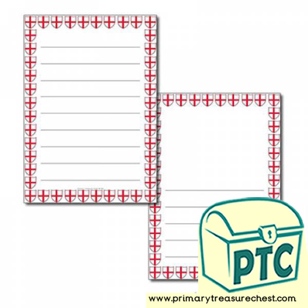 English Flag Themed Page Border - Wide Lined