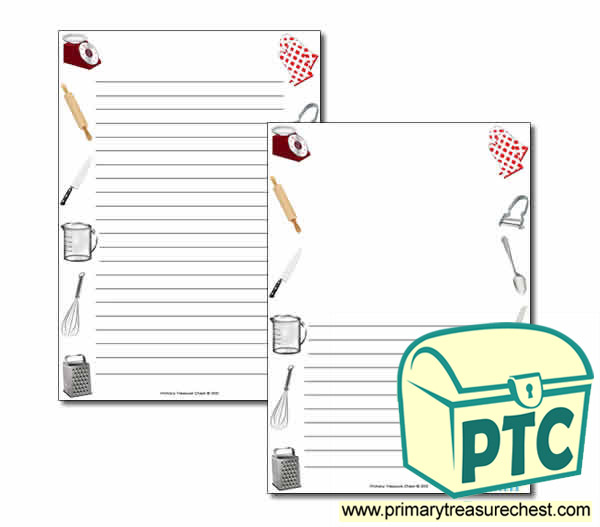 Cooking Equipment Themed Page Borders/Writing Frames (narrow lines)