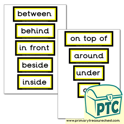 Positional Language Themed Display Words