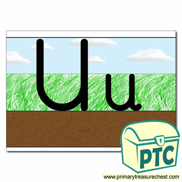 Letter 'Uu' Ground-Grass-Sky Letter Formation Sheet