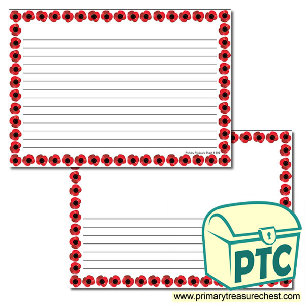 Poppy Themed Landscape Page Border - Narrow lines