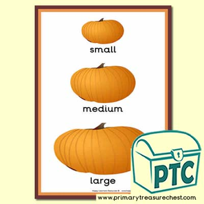 Pumpkin themed Sizes Poster