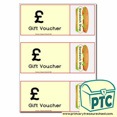 Role Play Sandwich Shop Vouchers (blank)