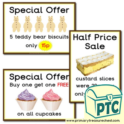 Role Play Cake Shop Special Offer Posters 1-20p