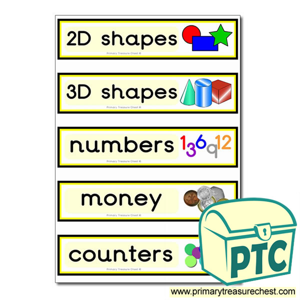 Double mounted effect draw labels with maths equipment images