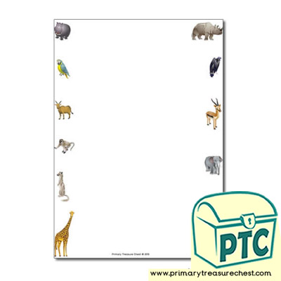 African Animals Themed Page Border/Writing Frame (no lines)