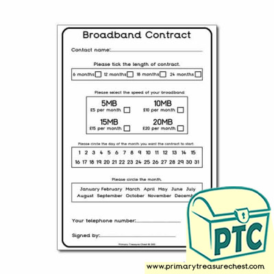 Sign up to Broadband Worksheet