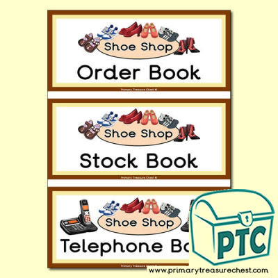 Shoe Shop Role Play Book Covers / Labels