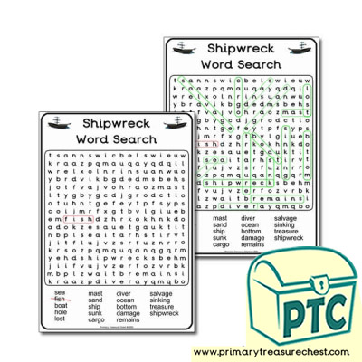 Shipwreck Themed A5 WordSearch Worksheet