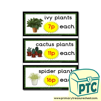 Role Play Garden Centre Plants Prices (1-20p)