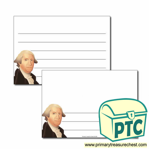George Washington Themed Landscape Page Border/Writing Frame (wide lines)