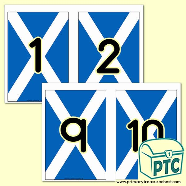 Scottish Flag Number Line - 0 to 10