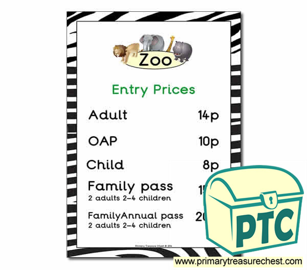 Zoo Entry Prices Poster (1-20p)