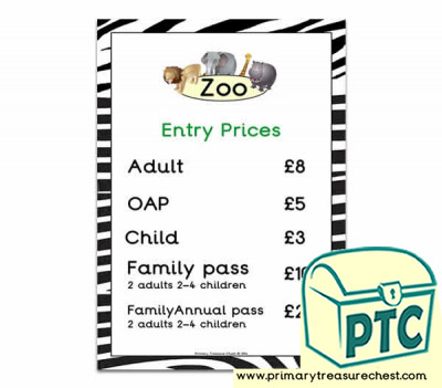 Zoo Entry Prices Poster (21p-£99)