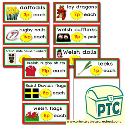 Welsh Gift Shop Prices Flashcards (1-20p)
