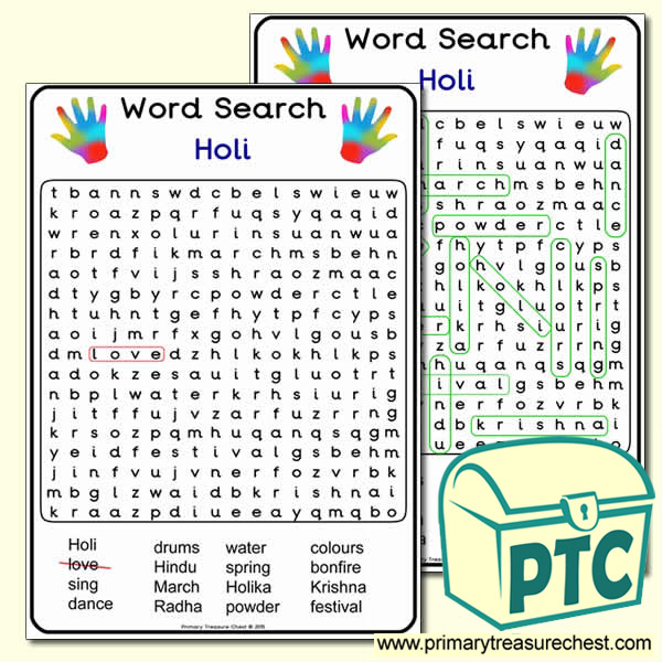 A4 Holi Word Search