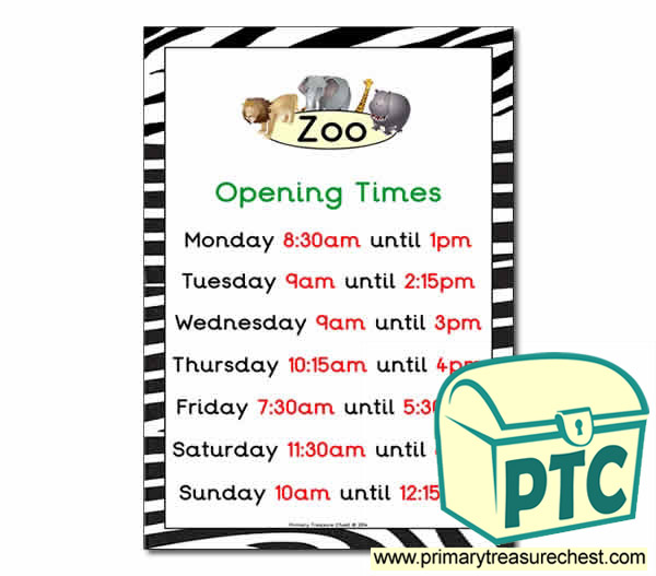 Zoo Role Play Opening Times ( Quarter & Half Past Times)