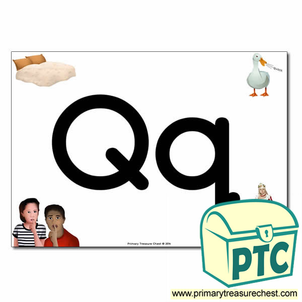 'Qq' Upper and Lowercase Letters A4 posterposter with realistic images