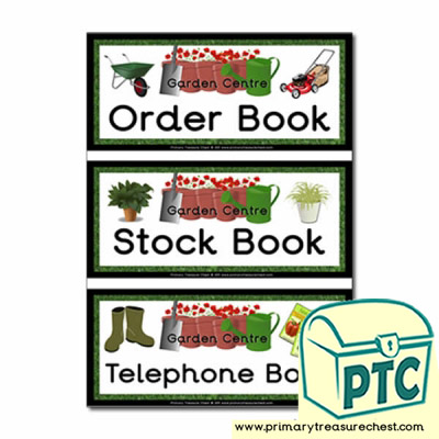 Garden Centre Role Play Book Labels