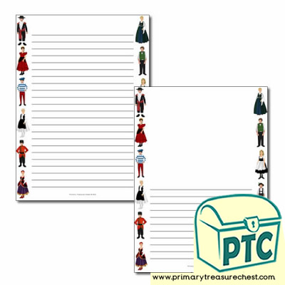Traditional Costumes Page Border/Writing Frame (narrow lines)