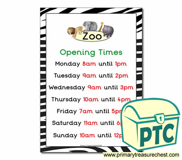Zoo Role Play Opening Times (O'clock Times)