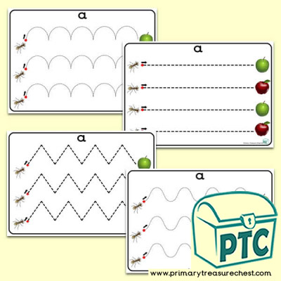 'Aa' Themed Pre-Writing Patterns Activity Sheets