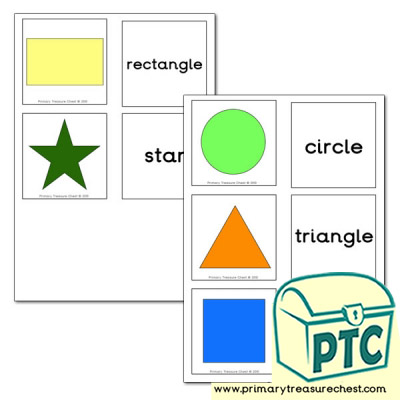 2D Shapes - Matching Cards with text