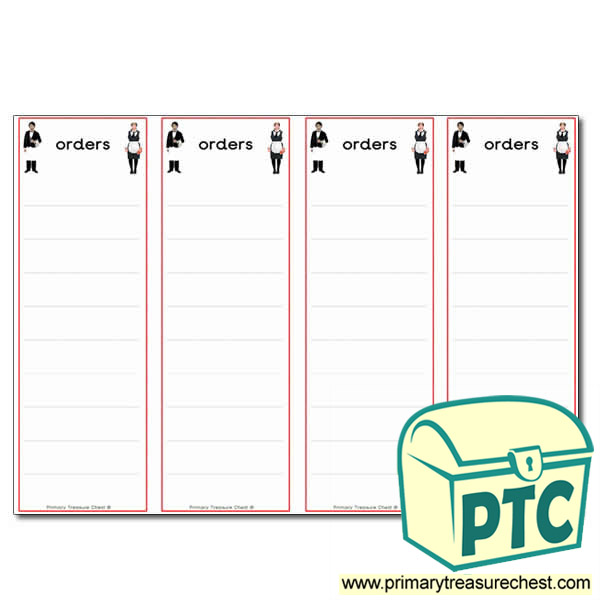 Restaurant Role Play Order Pad (4 per A4)