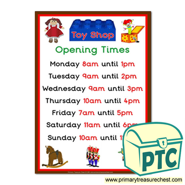 Toy Shop Role Play Opening Times Sign (O'clock times)