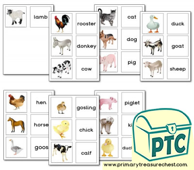 Farm Animal Themed Matching Cards
