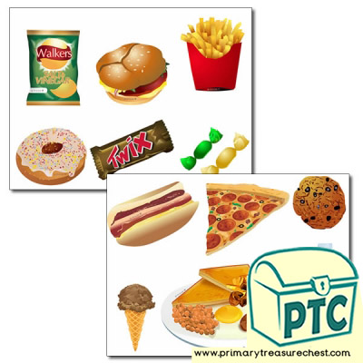 Unhealthy Food Storyboard / Cut & Stick Images