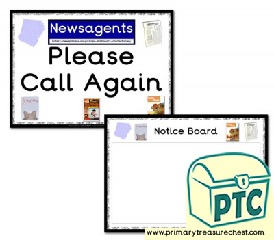 Newsagents Shop Notice Board & Call Again Signs
