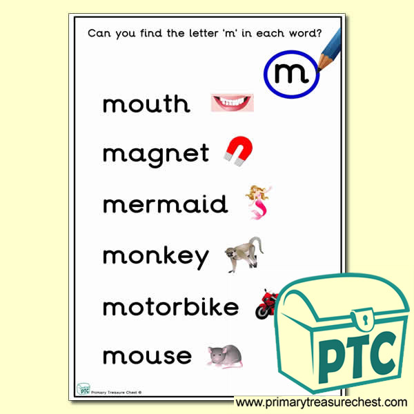 Find the Letter 'm' Activity Sheet