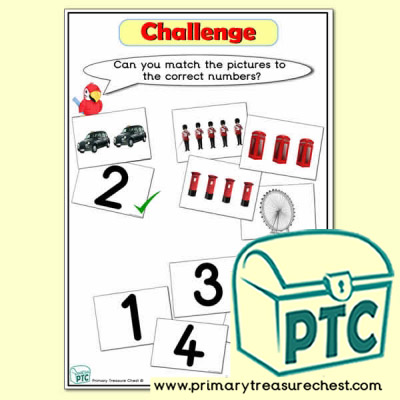 Challenge - Matching Numbers with Pictures London Themed Tuff Tray Resource