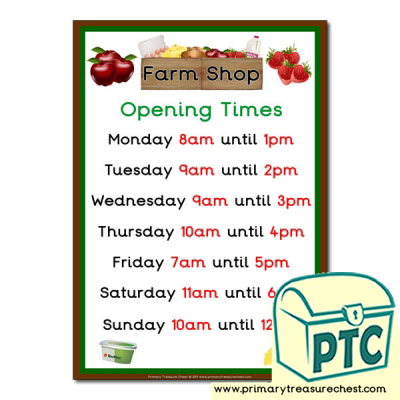 Farm Shop Role Play Opening Times Sign (O'clock times)