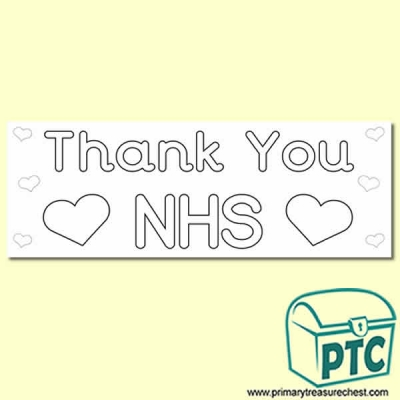 FREE Thank You NHS colouring in poster / display heading - 2 x A4 Sheets