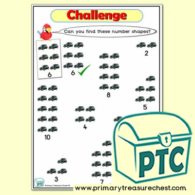 Taxi Themed Number Shape Challenge