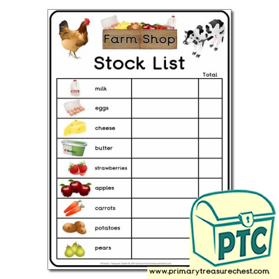 Role Play Farm Shop Stock List