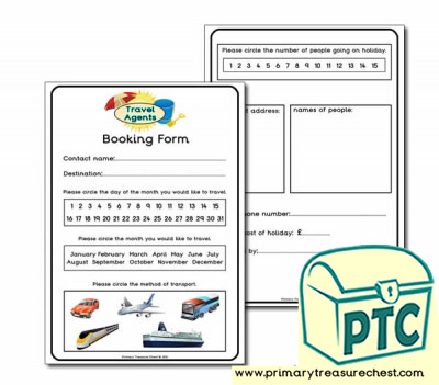 Travel Agents Booking Form Worksheet