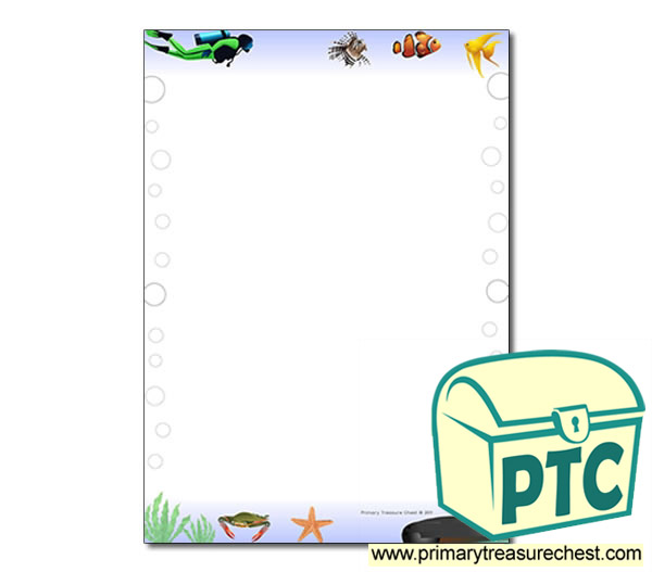 'Under the Sea' Themed Page Border/Writing Frame (no lines)