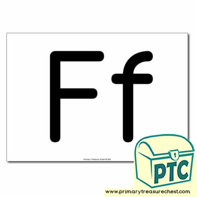 'Ff' Upper and Lowercase Letters A4 poster (No Images)