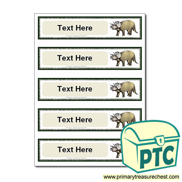 Triceratops Dinosaur Themed Pupil Drawer Labels (Small)