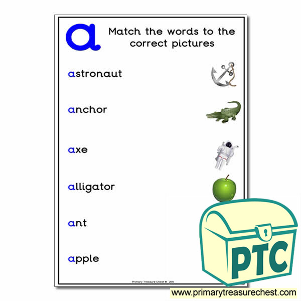 Match the 'a' Themed Words to the Pictures
