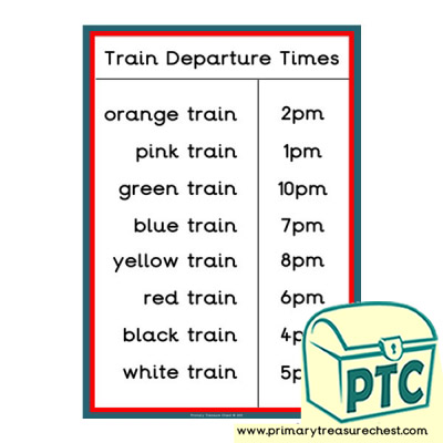 Role Play Train Station Departure Times (Coloured)
