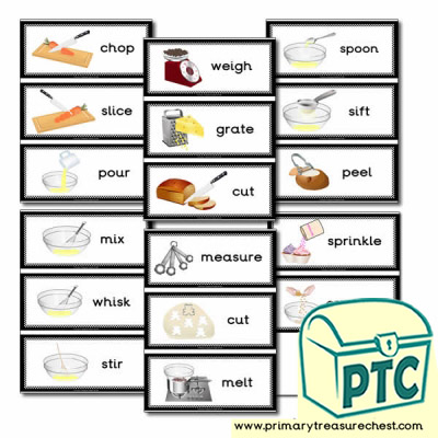 Cooking Equipment Themed Flashcards - Actions Ending in 'ing'
