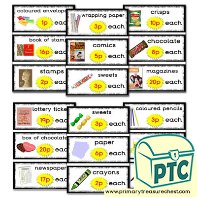 Role Play Newsagents Prices Flashcards (1-20p)