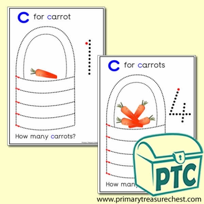 Carrot Themed Numeracy and Pencil Control - Letter 'c'