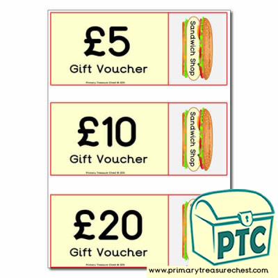 Role Play Sandwich Shop Vouchers