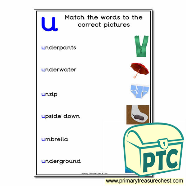 Match the 'u' Themed Words to the Pictures